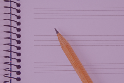 Music sheet and pencil